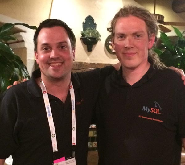 The MySQL 5.7 Community Contributor Polo, as modeled by Daniël van Eeden. I'm the guy on the left.
